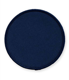 Pack of 25 Navy Circle Badges with Heatseal (choice of edging colour)