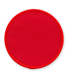 Pack of 25 Red Circle Badges with Heatseal (choice of edging colour)