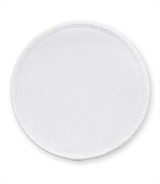 Pack of 25 White Circle Badges with Heatseal (choice of edging colour)