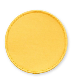 Pack of 25 Yellow Circle Badges with Heatseal (choice of edging colour)