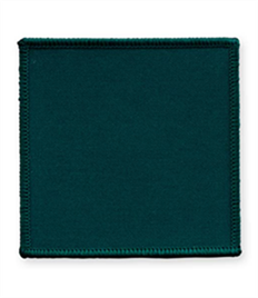 Pack of 25 Bottle Green Square Badges with Heatseal (choice of edging colour)