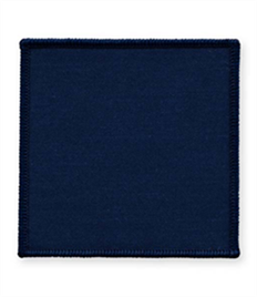 Pack of 25 Navy Square Badges with Heatseal (choice of edging colour)