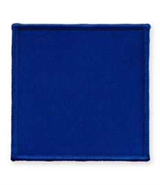 Pack of 25 Royal Square Badges with Heatseal (choice of edging colour)