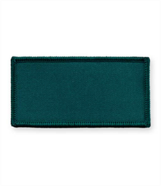 Pack of 25 Bottle Green Rectangle Badges with Heatseal (choice of edging colour)