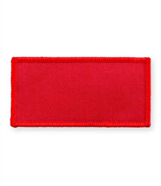 Pack of 25 Red Rectangle Badges with Heatseal (choice of edging colour)
