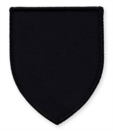 Pack of 25 Black Shield Badges with Heatseal (choice of edging colour)