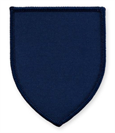 Pack of 25 Navy Shield Badges with Heatseal (choice of edging colour)