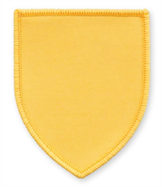 Pack of 25 Yellow Shield Badges with Heatseal (choice of edging colour)