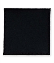 Pack of 25 Black Square Badges (choice of edging colour)