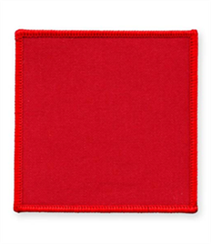 Pack of 25 Red Square Badges (choice of edging colour)