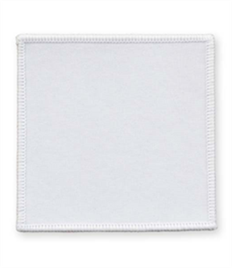 Pack of 25 White Square Badges (choice of edging colour)