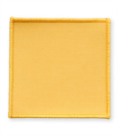 Pack of 25 Yellow Square Badges (choice of edging colour)