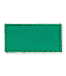 Pack of 25 Emerald Green Rectangle Badges (choice of edging colour)