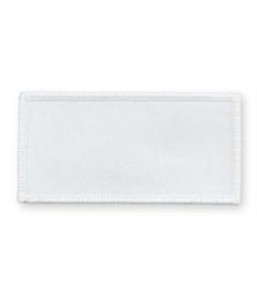 Pack of 25 White Rectangle Badges (choice of edging colour)