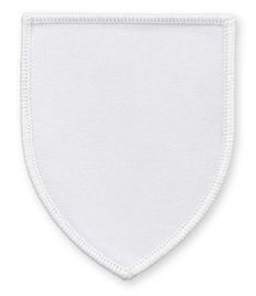 Pack of 25 White Shield Badges (choice of edging colour)