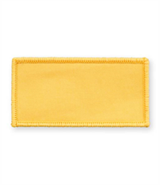 Pack of 25 Yellow Rectangle Badges (choice of edging colour)
