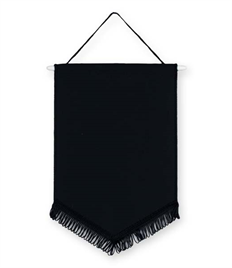 Pack of 10 Black Satin Chevron Pennants (choice of fringe colour)