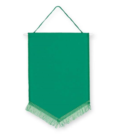 Pack of 10 Emerald Green Satin Chevron Pennants (choice of fringe colour)