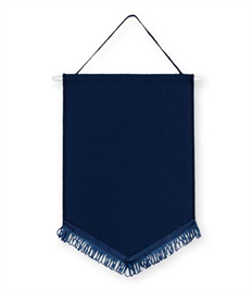 Pack of 10 Navy Satin Chevron Pennants (choice of fringe colour)