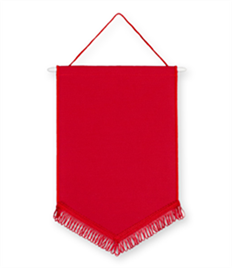 Pack of 10 Red Chevron Pennants (choice of fringe colour)