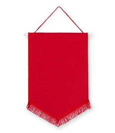 Pack of 10 Red Satin Chevron Pennants (choice of fringe colour)