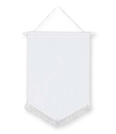 Pack of 10 White Satin Chevron Pennants (choice of fringe colour)