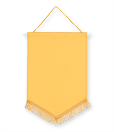 Pack of 10 Yellow Chevron Pennants (choice of fringe colour)