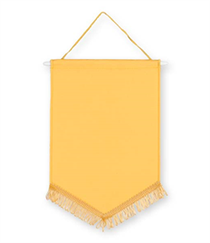 Pack of 10 Yellow Satin Chevron Pennants (choice of fringe colour)