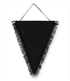 Pack of 10 Black Triangle Pennants (choice of fringe colour)