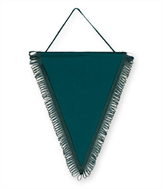 Pack of 10 Bottle Green Triangle Pennants (choice of fringe colour)