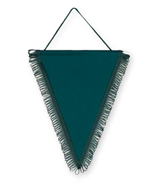 Pack of 10 Bottle Green Satin Triangle Pennants (choice of fringe colour)