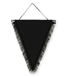Pack of 10 Black Satin Triangle Pennants (choice of fringe colour)