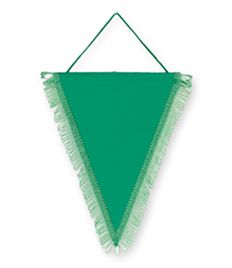 Pack of 10 Emerald Green Triangle Pennants (choice of fringe colour)