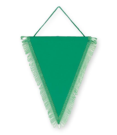 Pack of 10 Emerald Green Satin Triangle Pennants (choice of fringe colour)
