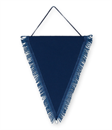 Pack of 10 Navy Triangle Pennants (choice of fringe colour)