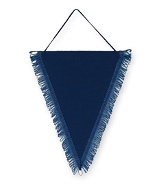 Pack of 10 Navy Satin Triangle Pennants (choice of fringe colour)