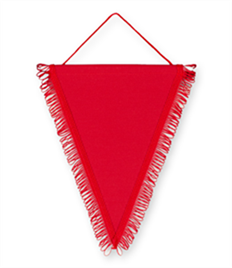 Pack of 10 Red Triangle Pennants (choice of fringe colour)