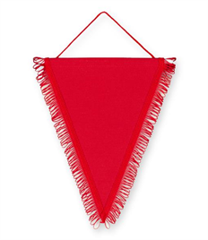 Pack of 10 Red Satin Triangle Pennants (choice of fringe colour)