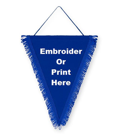 Pack of 10 Royal Satin Triangle Pennants (choice of fringe colour)