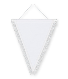 Pack of 10 White Triangle Pennants (choice of fringe colour)