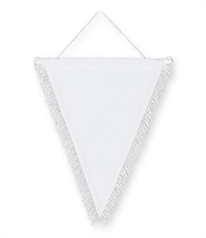 Pack of 10 White Satin Triangle Pennants (chocie of fringe colour)