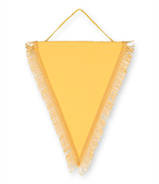 Pack of 10 Yellow Triangle Pennants (choice of fringe colour)
