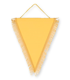 Pack of 10 Yellow Satin Triangle Pennants (choice of fringe colour)