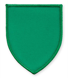 Pack of 25 Emerald Green Shield Badges (choice of edging colour)