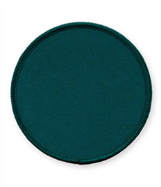 Pack of 25 Bottle Green Circle Badges with Velcro (choice of edging colour)