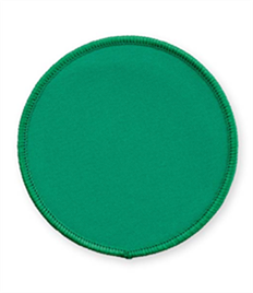 Pack of 25 Emerald Circle Green Badges with Velcro (choice of edging colour)