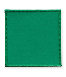 Pack of 25 Emerald Green Square Badges with Velcro (choice of edging colour)