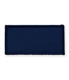 Pack of 25 Navy Rectangle Badges with Velcro (choice of edging colour)