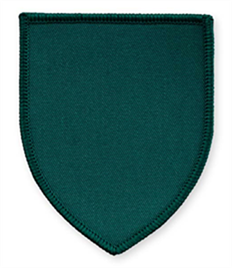 Pack of 25 Bottle Green Shield Badges with Velcro (choice of edging colour)