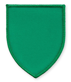 Pack of 25 Emerald Green Shield Badges with Velcro (choice of edging colour)